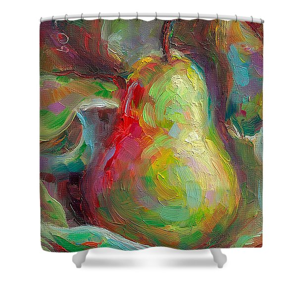 Just A Pear - Impressionist Still Life Shower Curtain by Talya Johnson