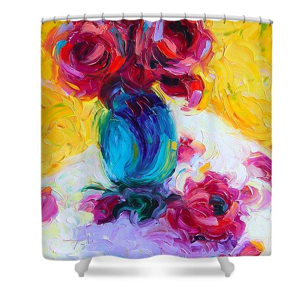 Just Past Bloom - roses still life Shower Curtain by Talya Johnson