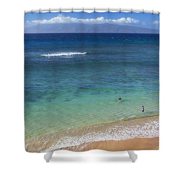 Kaanapali Ocean Aerial Shower Curtain by Jenna Szerlag