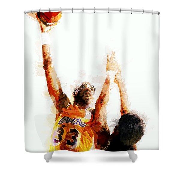 KAREEM ABDUL JABBAR N B A LEGEND Shower Curtain by Daniel Hagerman