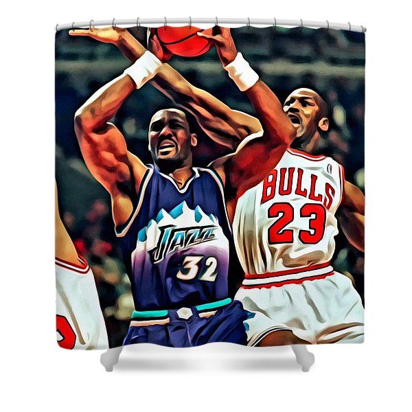 Karl Malone vs. Michael Jordan Shower Curtain by Florian Rodarte