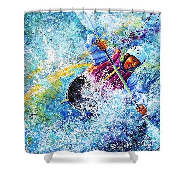 Kayak Crush Shower Curtain by Hanne Lore Koehler