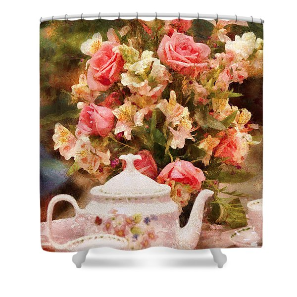 Kettle - More tea Milady  Shower Curtain by Mike Savad