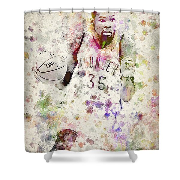Kevin Durant In Color Shower Curtain by Aged Pixel