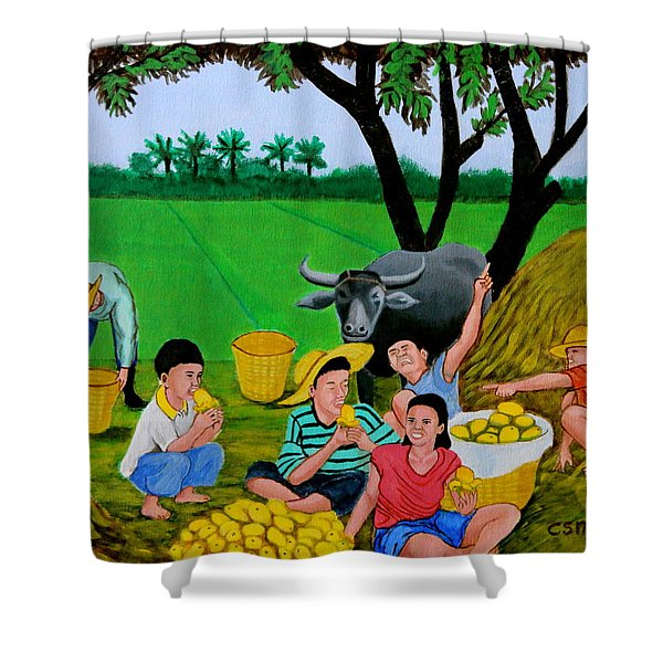 Kids Eating Mangoes Shower Curtain by Cyril Maza