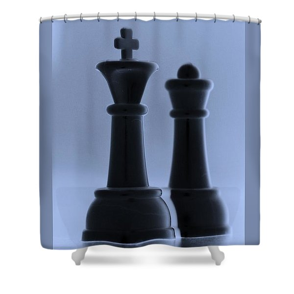 KING AND QUEEN in CYAN Shower Curtain by ROB HANS