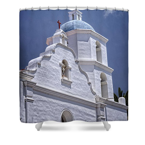 King Of The Missions Shower Curtain by Joan Carroll