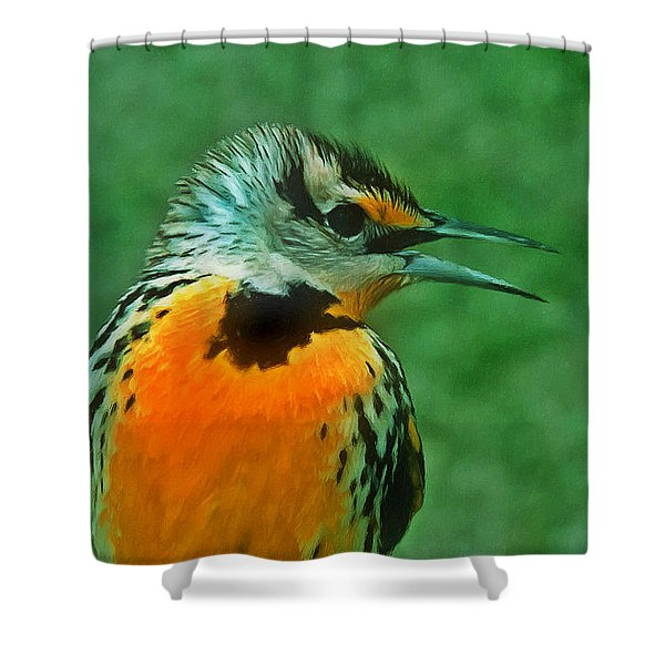 Kingfisher  Sitting On It's Perch Shower Curtain by Lanjee Chee