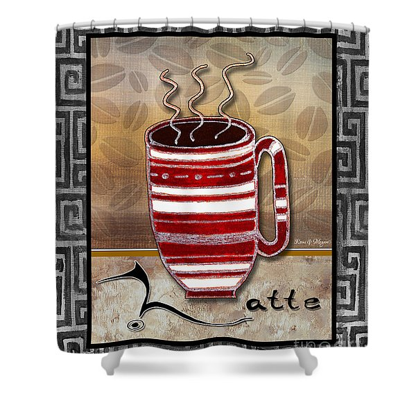 Kitchen Cuisine Hot Cuppa Coffee Cup Mug Latte Drink by Romi and Megan Shower Curtain by Megan Duncanson