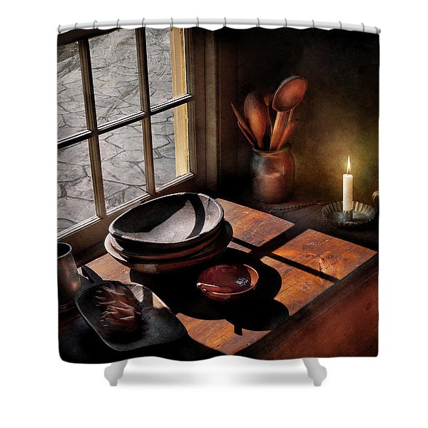 Kitchen - On a table II  Shower Curtain by Mike Savad