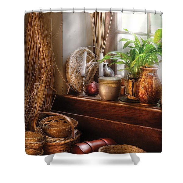Kitchen - Try To Keep Busy Shower Curtain by Mike Savad