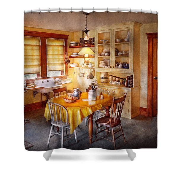 Kitchen - Typical farm kitchen  Shower Curtain by Mike Savad