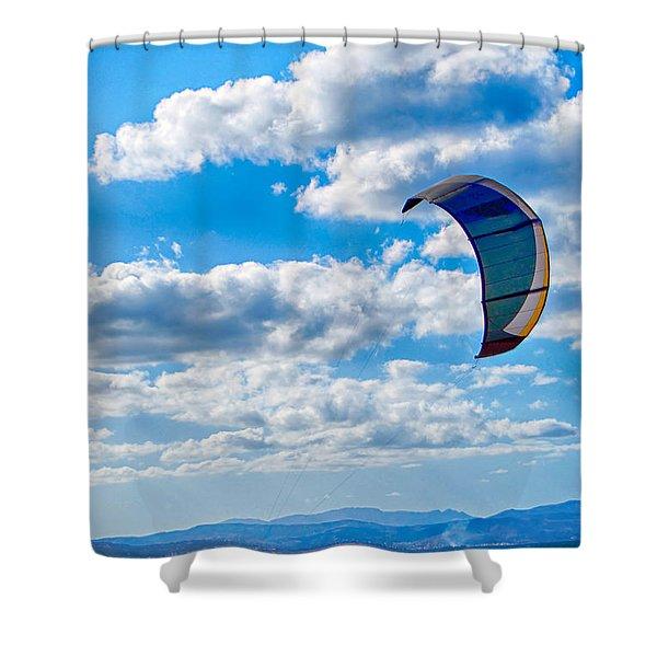 Kitesurfer Shower Curtain by Antony McAulay