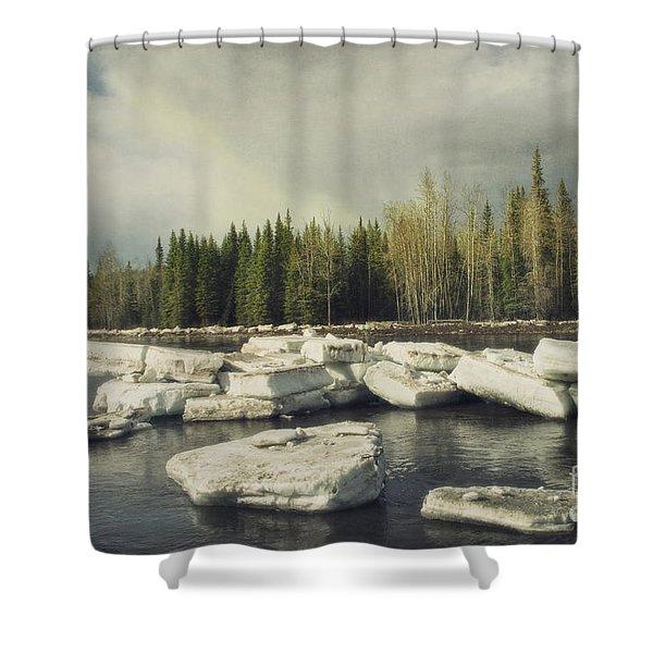 Klondike River Ice Break Shower Curtain by Priska Wettstein