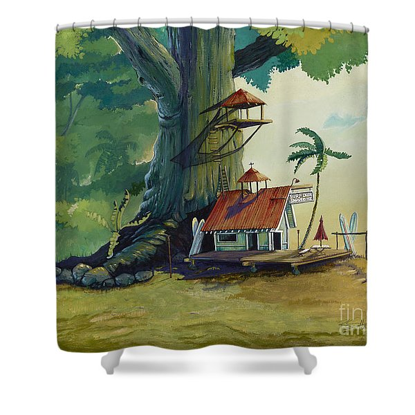 Ko' olau Surf Shack Shower Curtain by Bill Shelton