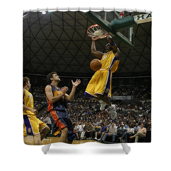Kobe Bryant Dunk Shower Curtain by Mountain Dreams