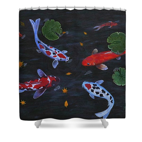 Koi Fishes Original Acrylic Painting Shower Curtain by Georgeta  Blanaru