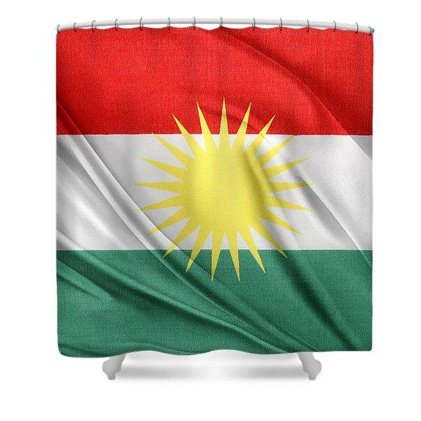 Kurdistan Flag Shower Curtain by Les Cunliffe