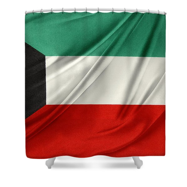 Kuwait flag  Shower Curtain by Les Cunliffe