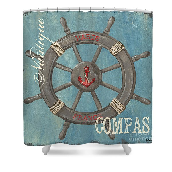 La Mer Compas Shower Curtain by Debbie DeWitt