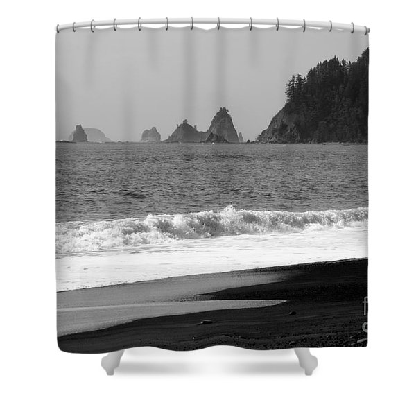 La Push Beach Black And White Shower Curtain by Carol Groenen