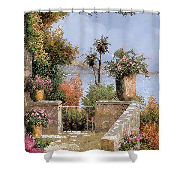 La Terrazza Un Vaso Due Palme Shower Curtain by Guido Borelli