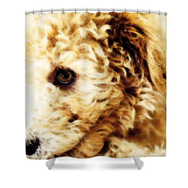 Labradoodle Dog Art - Doodle Bug Shower Curtain by Sharon Cummings