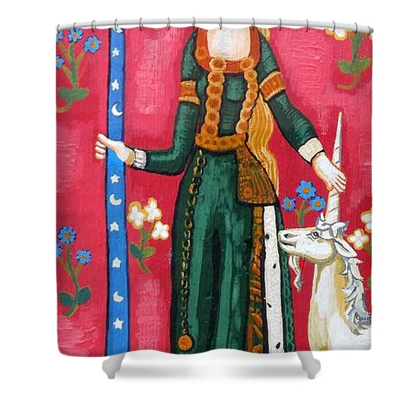 Lady and The Unicorn la pointe Shower Curtain by Genevieve Esson