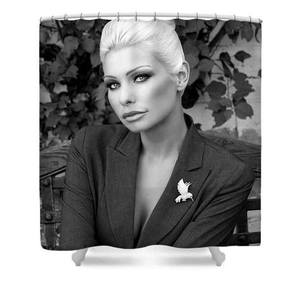 LADY OF SOLITUDE BW Palm Springs Shower Curtain by William Dey