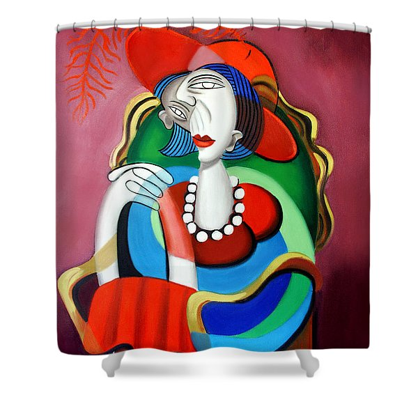 Lady With A Red Hat Shower Curtain by Anthony Falbo