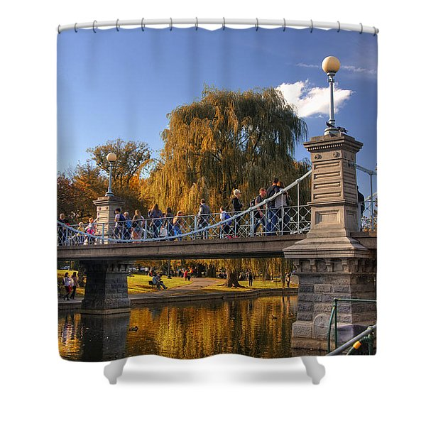 Lagoon Bridge in Autumn Shower Curtain by Joann Vitali