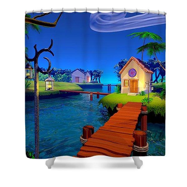 Lagoon Shower Curtain by Cynthia Decker