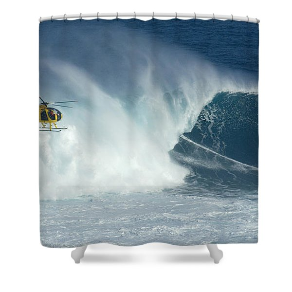 Laird Hamilton Going Left At Jaws Shower Curtain by Bob Christopher
