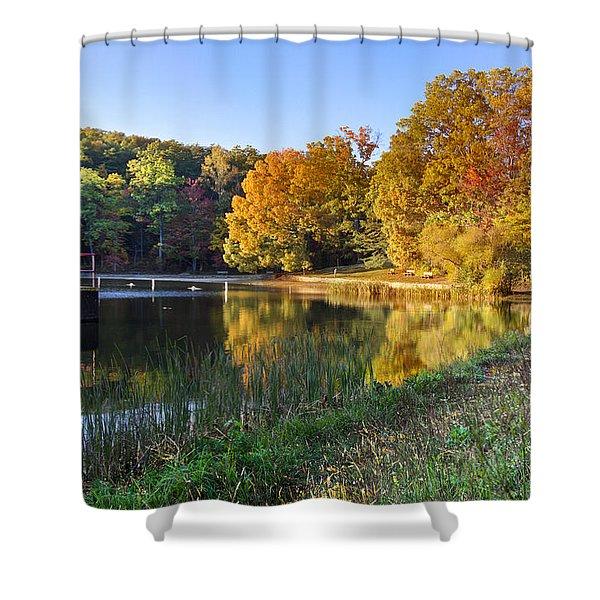 Lake At Chilhowee Shower Curtain by Debra and Dave Vanderlaan
