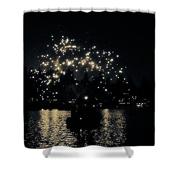 Lake Fireworks Shower Curtain by Susan Garren