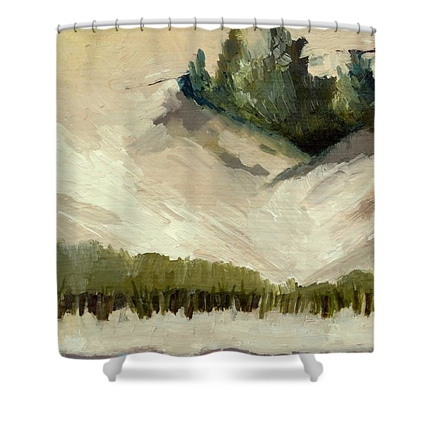 Lake Michigan Dune with Trees Diptych Shower Curtain by Michelle Calkins