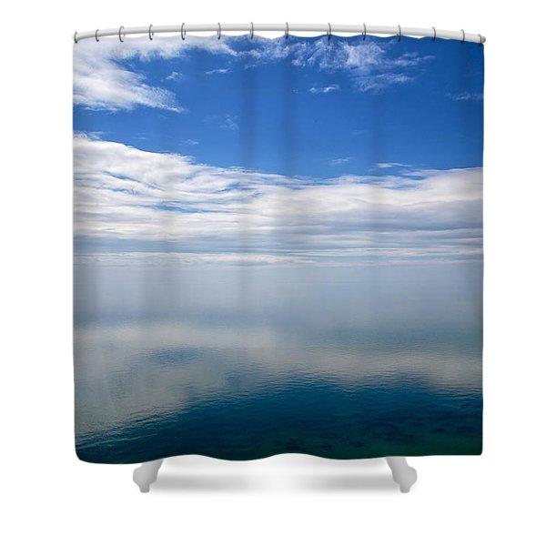 Lake Michigan's Lost Horizon Shower Curtain by Mary Lee Dereske