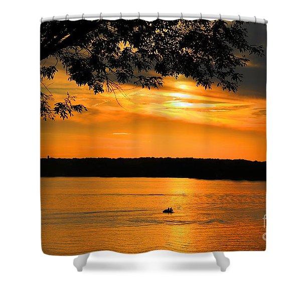 Lake Panarama sunset Shower Curtain by Bob Hislop