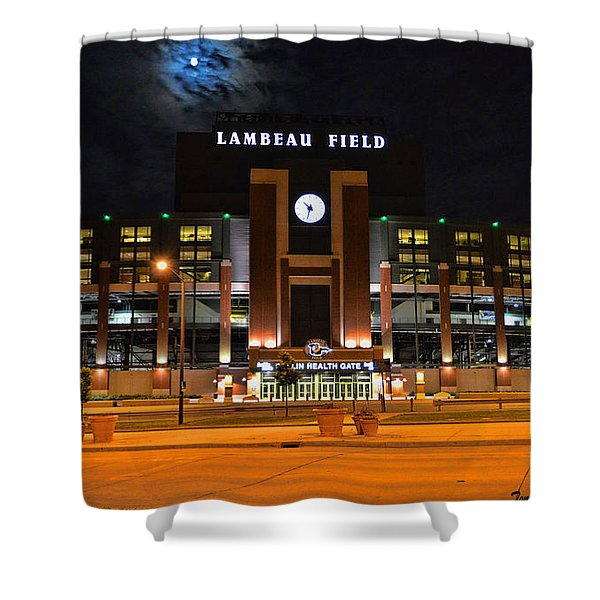 Lambeau Field at Night Shower Curtain by Tommy Anderson