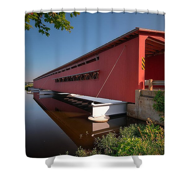 Langley Covered Bridge Michigan Shower Curtain by Steve Gadomski