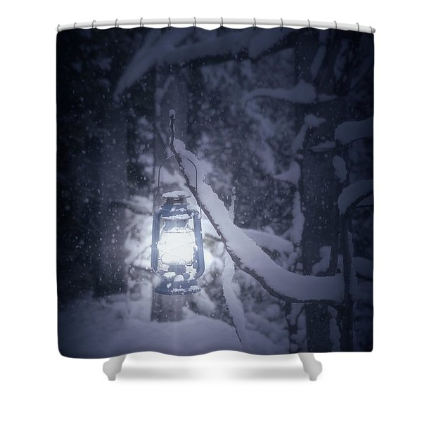 lantern in snow Shower Curtain by Joana Kruse