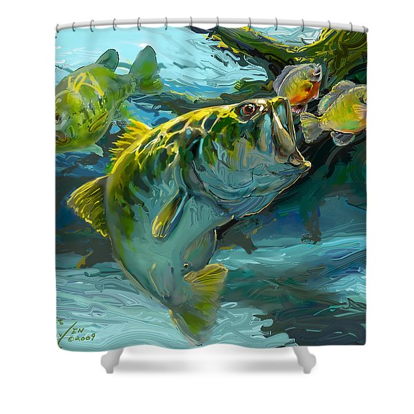 Large Mouth Bass and Blue Gills Shower Curtain by Savlen Art