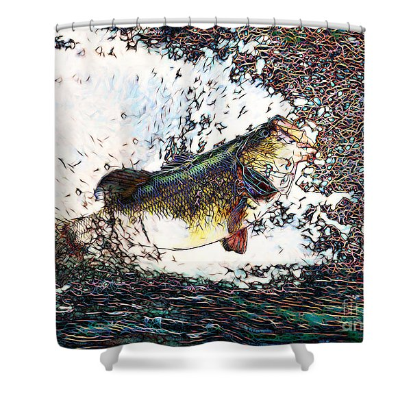 Largemouth Bass p180 Shower Curtain by Wingsdomain Art and Photography