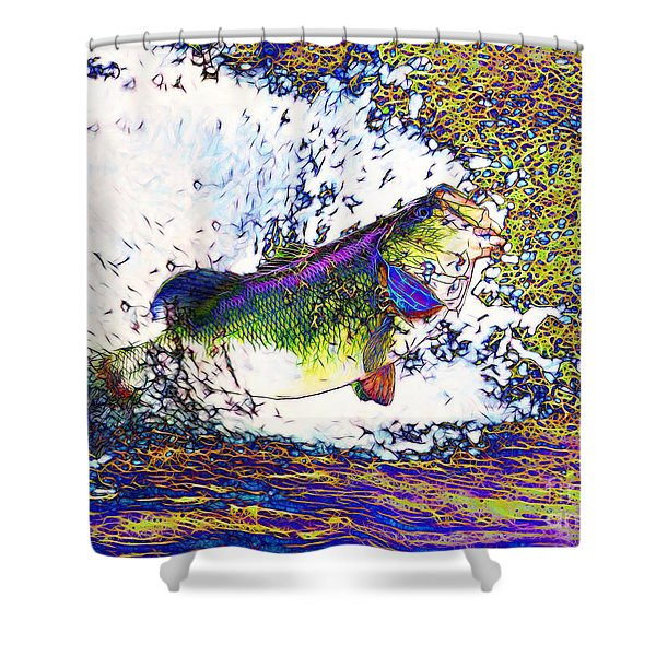 Largemouth Bass p68 Shower Curtain by Wingsdomain Art and Photography