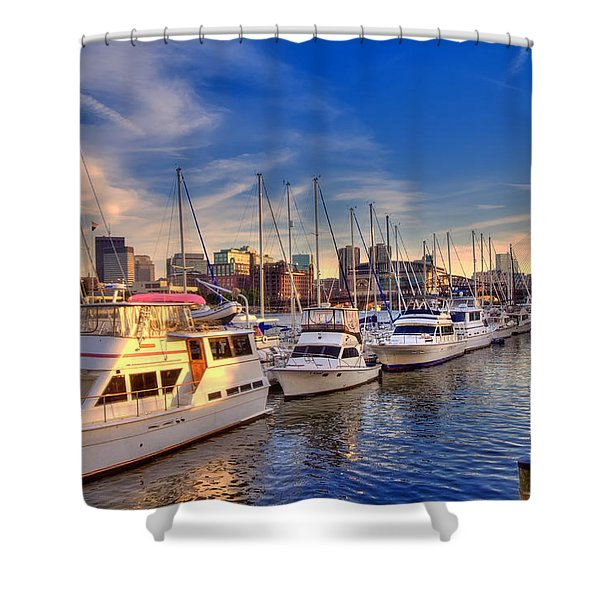 Late Afternoon at Constitution Marina - Charlestown Shower Curtain by Joann Vitali