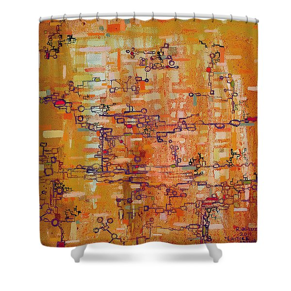 Lattice Animals Abstract Oil Painting by Regina Valluzzi Shower Curtain by Regina Valluzzi