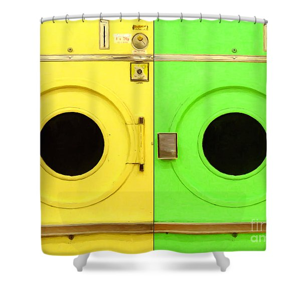 Laundromat Drying Machines Two 20130801a Shower Curtain by Wingsdomain Art and Photography