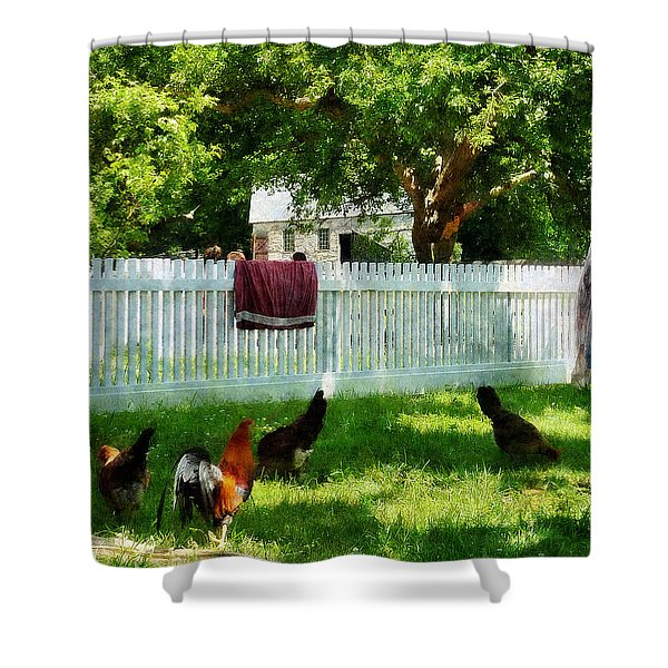 Laundry Hanging On Fence Shower Curtain by Susan Savad