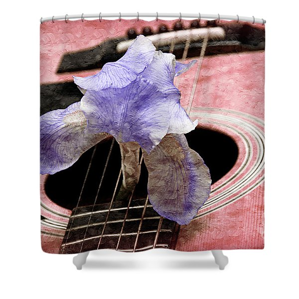 Lavender Iris And Acoustic Guitar - Texture - Music - Musical Instrument - Painterly - Pink Shower Curtain by Andee Design