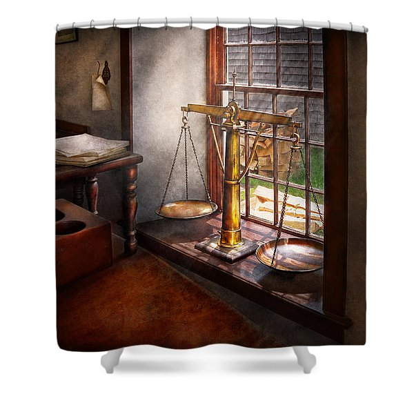 Lawyer - Scales of Justice Shower Curtain by Mike Savad